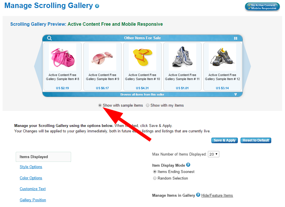 how to add a scrolling gallery to ebay listings