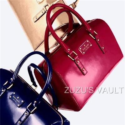 Kate Spade Flicker Melinda Berry Pink Patent Leather Satchel Bag ~SHIP