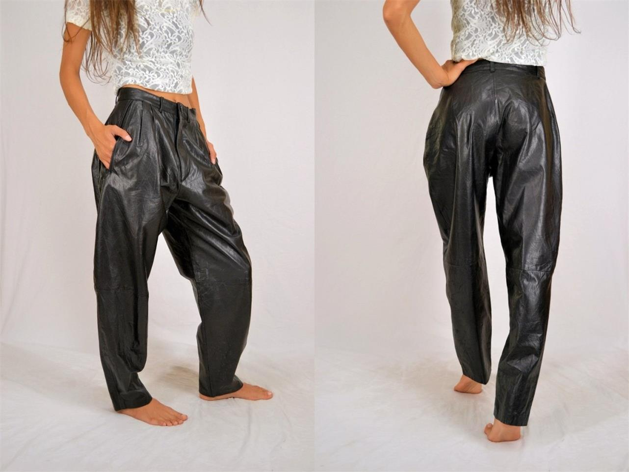 Vintage black pleated puffy lambskin soft leather diva rocker pants xs waist 28 ebay - Diva pants ebay ...