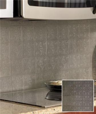 27 piece self adhesive embossed faux metal wall backsplash