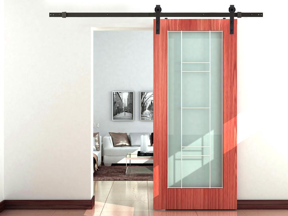 Carbon steel interior sliding barn wood entry door for Steel entry door with sliding window