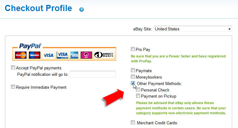 Ebay Payment Options >> How To Create A Checkout Profile Auctiva Tutorials