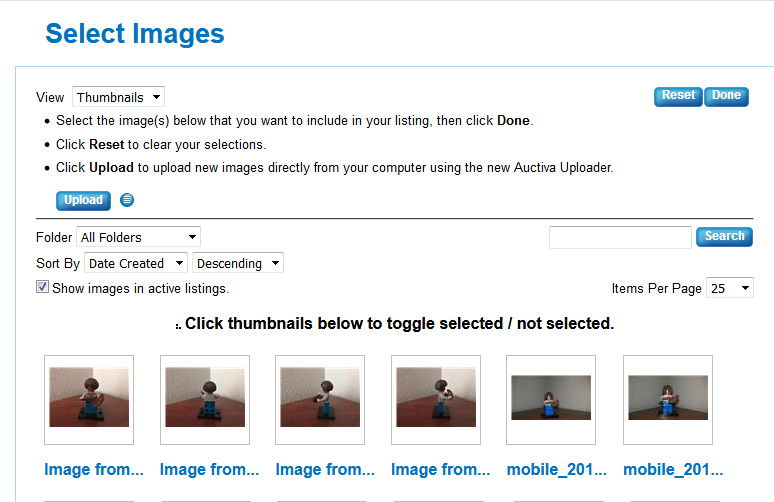 auctiva scrolling gallery not updating