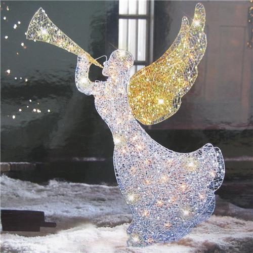 Quot lighted mesh metal trumpeting angel indoor outdoor