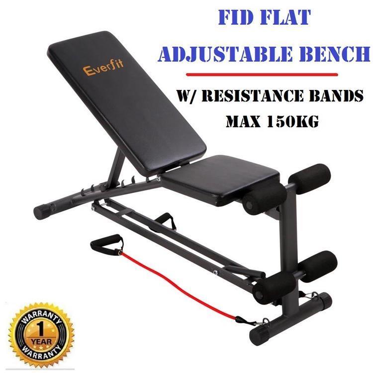 FID Flat Adjustable Bench Press W/ Resistance Bands Gym