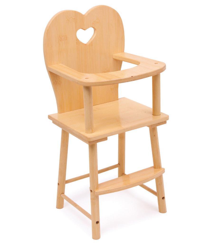 Solid Wooden Dolls Feeding High Chair Girls Toy