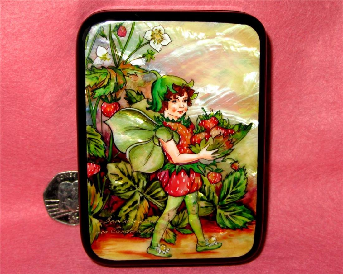 Details about Russian LACQUER Box UNIQUE GIFT HAND PAINTED Strawberry  FLOWER Fairy SILANTYEVA