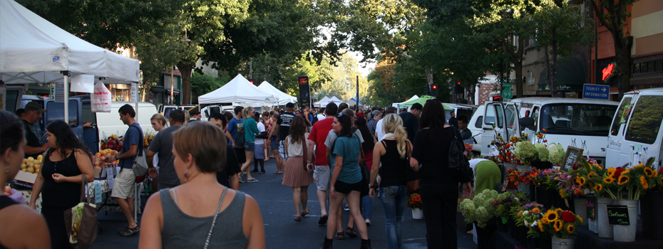 Downtown Chico - Chicoans enjoying the Thursday Night Farmer's Market